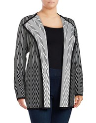 Calvin Klein Plus Geometric Open Front Cardigan Black White
