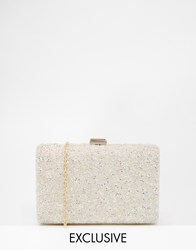 Chi Chi London Box Clutch Bag With Irridescent Beading White