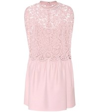 Valentino Wool And Silk Lace Dress Pink