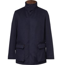 Loro Piana Winter Voyage Suede Trimmed Storm System Baby Cashmere Field Jacket Navy