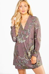 Boohoo Paisley Wrap Shirt Dress Grey