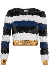 Sonia Rykiel Cropped Sequined Wool Sweater Black