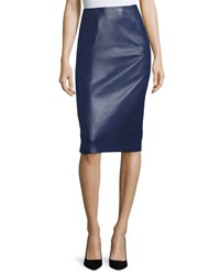 Carolina Herrera Leather Pencil Skirt Navy