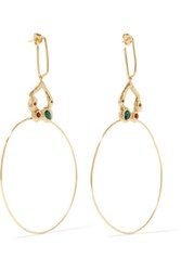 Maje Hammered Gold Tone Crystal Earrings One Size