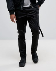 Asos Tapered Cargo Trouser With Side Pockets And Taping In Black Black