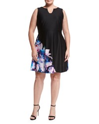 Shazdeh Fashions Sleeveless Floral Fit And Flare Dress Blk Dust P
