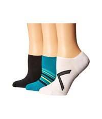 Hue Ergonomic Liner 3 Pack Black White Teal Women's Crew Cut Socks Shoes