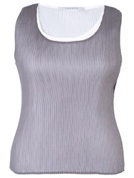 Chesca Reversible Pleated Camisole Grey Ivory