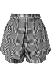 Alexander Mcqueen Layered Prince Of Wales And Houndstooth Checked Wool Shorts Black