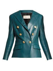 Alexandre Vauthier Double Breasted Leather Jacket Blue
