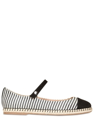 Tabitha Simmons 10Mm Striped Silk Mary Jane Shoes Black White