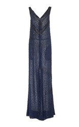 J. Mendel Sequin Embroidered Jumpsuit Navy