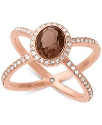 Michael Kors Rose Gold Tone Smoky Quartz Pave Open Ring
