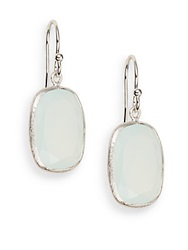Saks Fifth Avenue Aqua Chalcedony And Sterling Silver Earrings