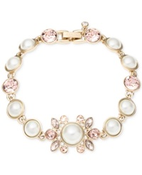 Givenchy Gold Tone Vintage Rose Crystal And Imitation Pearl Flex Bracelet Silk White