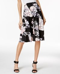 Ny Collection Petite Printed A Line Skirt Onyx Primrose