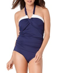 Anne Cole Colorblocked Halter Tankini Navy Blue