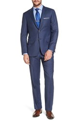 Hickey Freeman Classic B Fit Check Wool Suit Navy