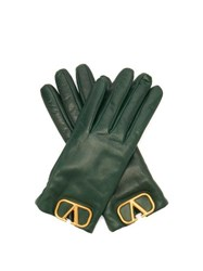 Valentino V Logo Plaque Leather Gloves Green