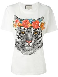 Gucci Floral Tiger Print T Shirt White