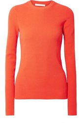 Helmut Lang Ribbed Knit Sweater Red
