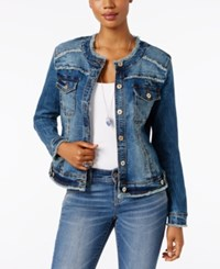 Inc International Concepts Petite Frayed Denim Jacket Only At Macy's Plumeria Wash