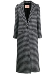 Twin Set Houndstooth Single Breasted Coat 60