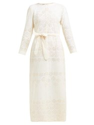 Innika Choo Etta Broderie Anglaise Cotton Dress Beige