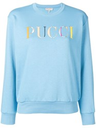 Emilio Pucci Long Sleeved Logo Sweater Blue