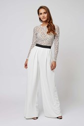 Long Sleeve Lace Top Jumpsuit By Rare White