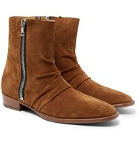 Amiri Skinny Stack Ruched Suede Boots Tan