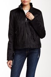 Rachel By Rachel Roy Fringe Vegan Suede Jacket Black