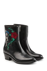 Zadig And Voltaire Embroidered Cowboy Leather Boots