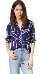 Rails Dylan Plaid Button Down Navy White Orchid