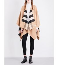 Burberry Charlotte Reversible Wool Cape Camel