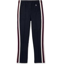 Sandro Slim Fit Tapered Webbing Trimmed Jersey Sweatpants Navy
