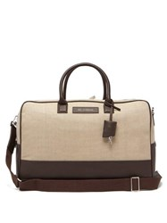 Want Les Essentiels Douglas Leather Trimmed Canvas Holdall Beige
