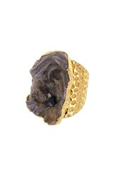 Panacea Sunstone Drusy Statement Ring Dark Grey