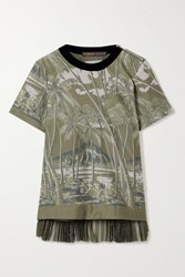 Sacai Velvet Trimmed Pleated Printed Voile And Chiffon Top Army Green
