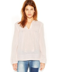 Sanctuary Long Sleeve Embroidered Tunic Silver Pink
