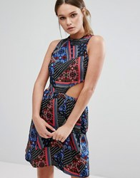 Influence Patchwork Print Cut Out Dress Multi