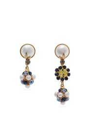 Erdem Mismatched Crystal And Faux Pearl Drop Earrings Blue