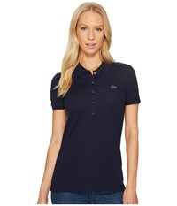 Lacoste Short Sleeve Slim Fit Stretch Pique Polo Shirt Navy Blue Women's Clothing