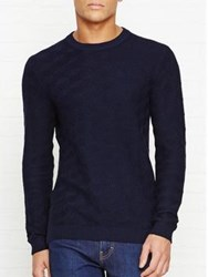 Reiss Watson Engineered Cable Crew Neck Jumper Navy