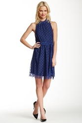 Sweet Pea Polka Dot Halter Dress Blue