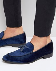 Dune Slipper Loafers In Velvet Navy Blue