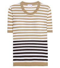 Sonia Rykiel Embellished Striped Silk And Cotton T Shirt Beige
