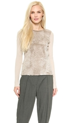 L'agence Ribbed Fur Sweater Grey Beige