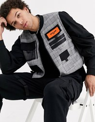 Sixth June Checked Cropped Utility Vest In Grey