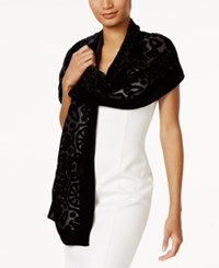 Inc International Concepts Velvet Burnout Jacquard Scarf Only At Macy's Black